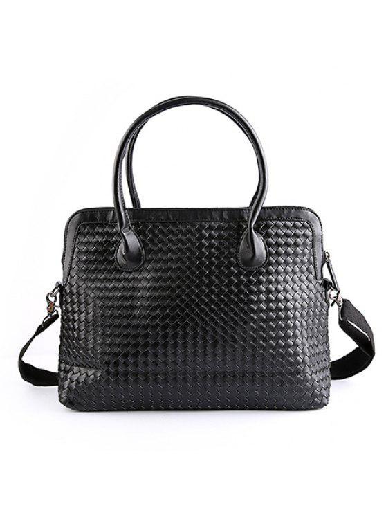 تصميم عصري اللون الأسود والنسيج حقيبة للرجال - أسود
