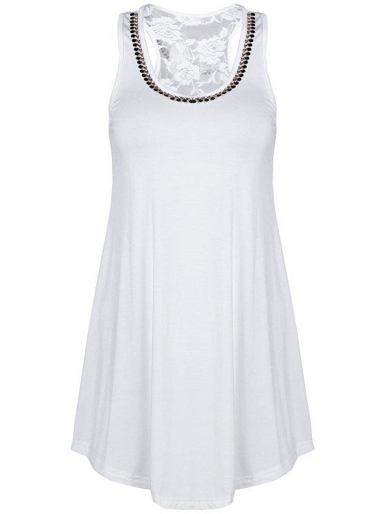outfits Lace Spliced Rhinestone Round Neck Tank Top - WHITE ONE SIZE(FIT SIZE XS TO M)