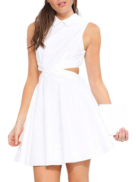 shops Turn-Down Collar Solid Color Openwork Dress - WHITE XS