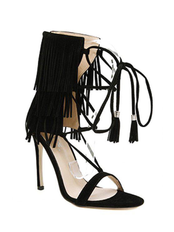 ladies Fringe Lace-Up Stiletto Heel Sandals - BLACK 39