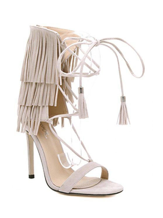 online Fringe Lace-Up Stiletto Heel Sandals - APRICOT 38