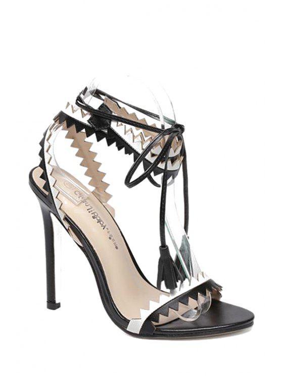Zigzag Pattern sandalias del bloque del color de la correa cruzada - Negro 39
