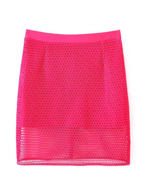 outfits Solid Color High Waisted Mesh Skirt - ROSE M