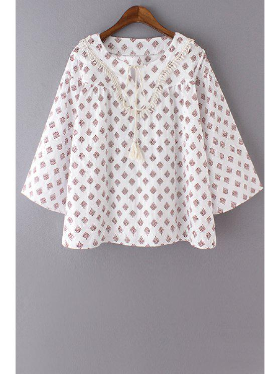 lady Printed Round Collar 3/4 Sleeve Blouse - WHITE M
