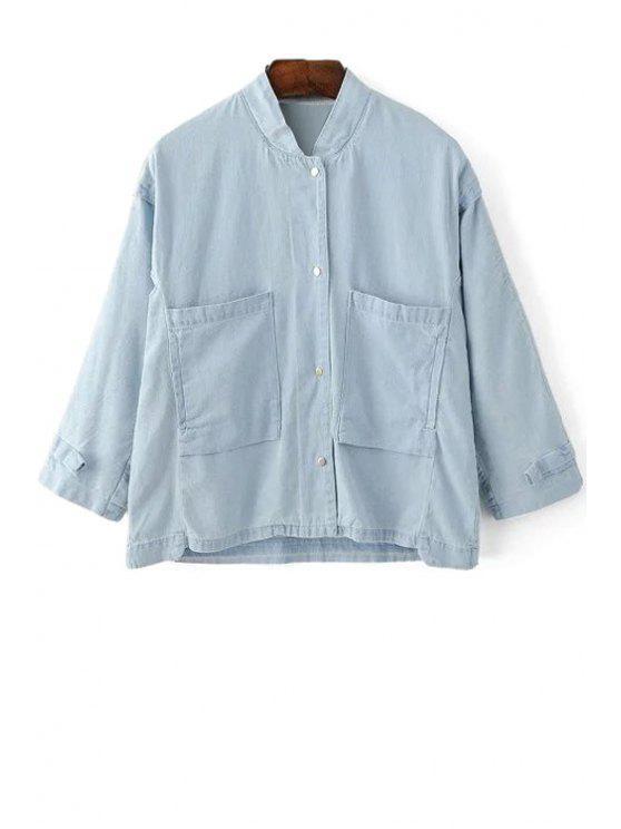 جيوب فضفاضة حامل الياقة 3/4 كم القميص الدينيم - الضوء الأزرق M