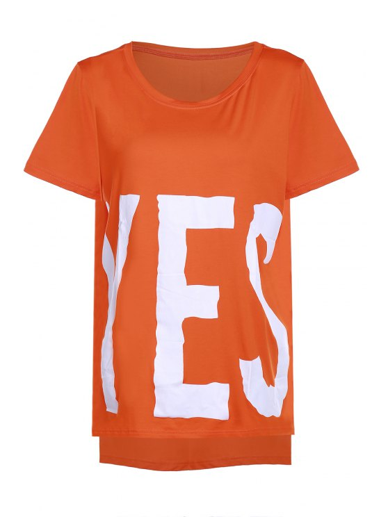 SÍ Imprimir Alto Bajo la camiseta - Naranja Un tamaño(Montar tam