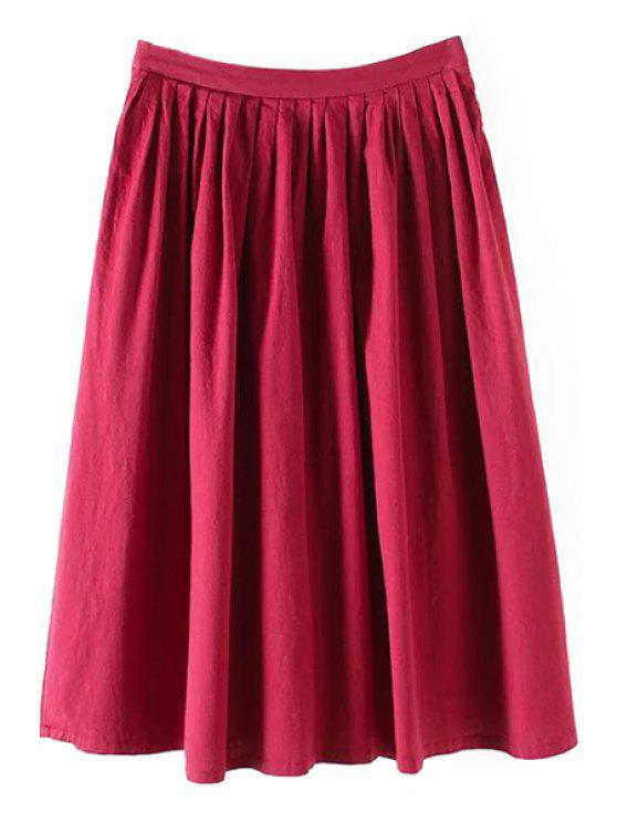trendy Solid Color High Waist A-Line Pleated Skirt - RED M