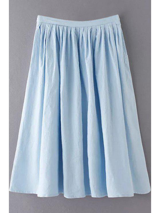 hot Solid Color High Waist A-Line Pleated Skirt - LIGHT BLUE S
