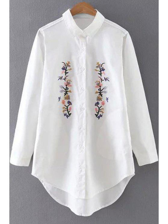 Floral embroidered turn down collar long sleeve shirt
