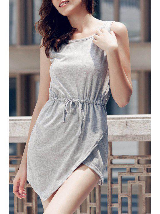 outfit Gray Round Neck Sleeveless Bodycon Sundress - GRAY S