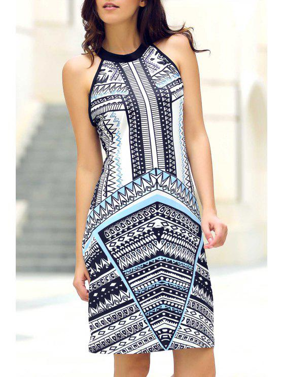 Geométrica Imprimir redondo vestido sin mangas del cuello - Colormix S