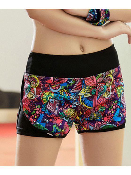 Shorts de yoga actif imprimé multicolore à taille élastique - Multicolore XL