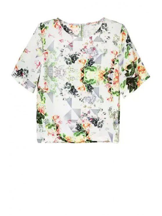 online Flower Print Round Neck Short Sleeve T-Shirt - WHITE L