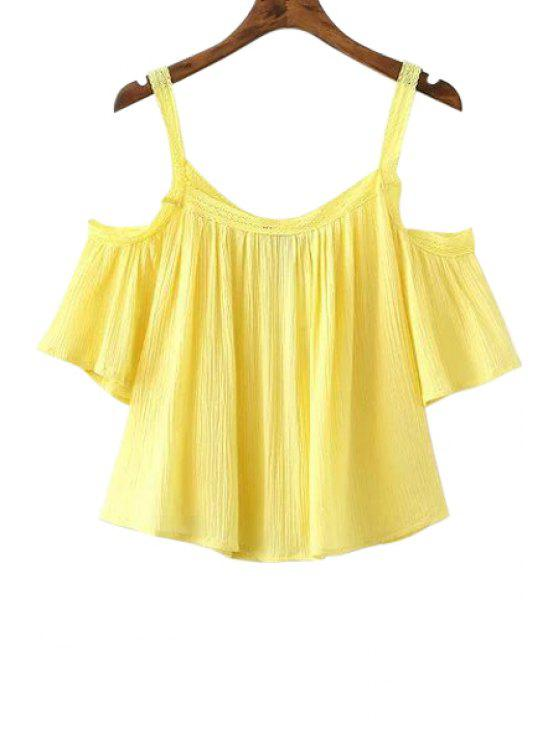 sale Cold Shoulder Flowy Blouse - YELLOW S