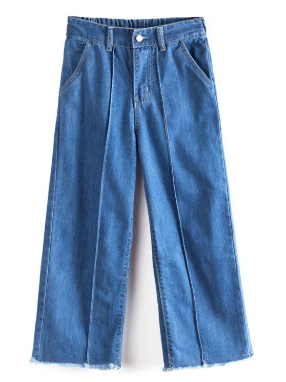 latest Solid Color High Waist Wide Leg Jeans - BLUE M
