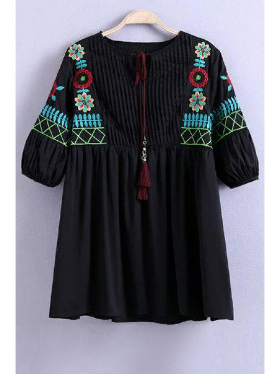 new Floral Embroidery Half Sleeve Pleated Blouse - BLACK L