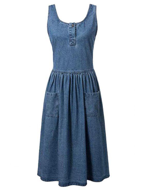 Poches de montage Scoop Neck manches Denim Dress - Bleu S