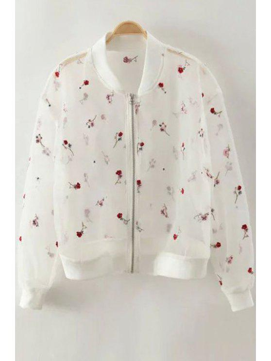 chic Embroidery See-Through Stand Neck Long Sleeve Blouse - WHITE XS