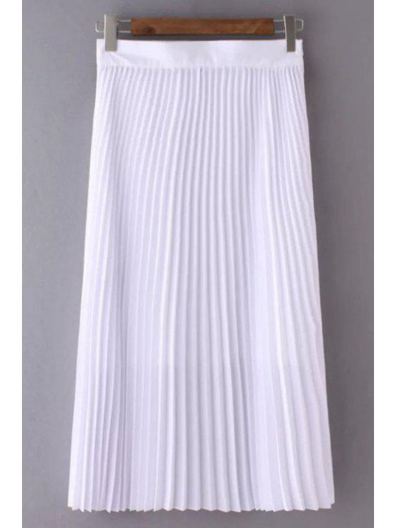 womens Solid Color High Waist Pleated Skirt - WHITE L