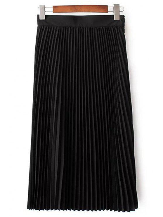 Color sólido de cintura alta falda plisada - Negro L