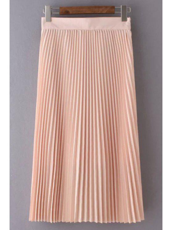 trendy Solid Color High Waist Pleated Skirt - LIGHT PINK S