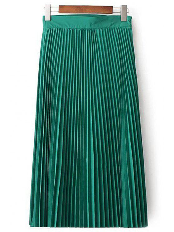 shop Solid Color High Waist Pleated Skirt - GREEN S