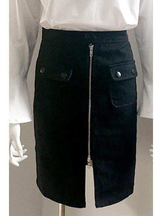 Cremallera frontal del color sólido de la falda del lápiz - Negro M