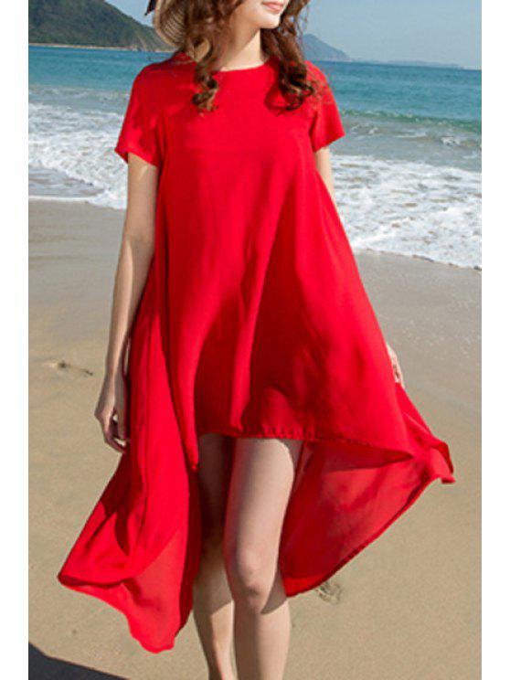 womens High Low Hem Round Collar Short Sleeve Dress - RED XL