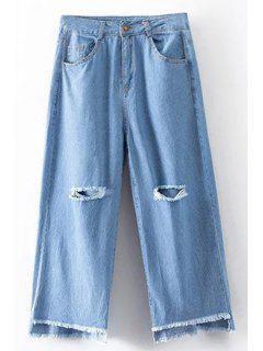 Roto Agujero De Cintura Alta Pierna Ancha De Los Pantalones Vaqueros - Azul Claro L
