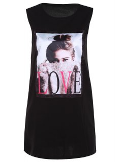 Figure Print Round Neck Tank Top - Black