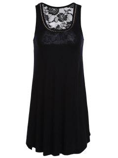 Lace Spliced Rhinestone Round Neck Tank Top - Black