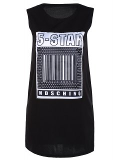 Fitting Letter Print Round Neck Tank Top - Black