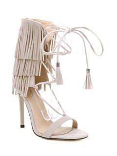 Fringe Lace-Up Stiletto Heel Sandals - Apricot 38