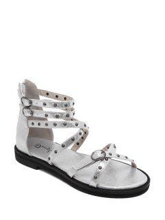 Cross-Strap Rivet Flat Heel Sandals - Silver 39