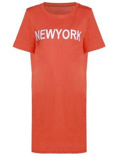 Letter Pattern Long T-Shirt - Orange