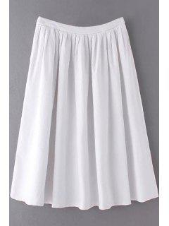 Color Sólido De Alta Cintura Una Línea De Falda Plisada - Blanco L