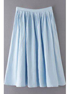 Solid Color High Waist A-Line Pleated Skirt - Light Blue L