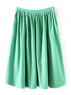 Color Sólido De Alta Cintura Una Línea De Falda Plisada - Verde L