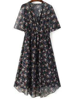 Tiny Floral Print V Neck Half Sleeve Chiffon Dress - Black L