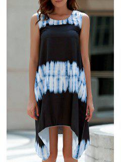 Tie-Dyed Irregular Hem Tank Dress - White And Black S