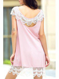 Sleeveless Lace Hem Sundress - Pink S