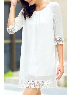 Half Sleeve Lace Hem Chiffon Dress - White Xl