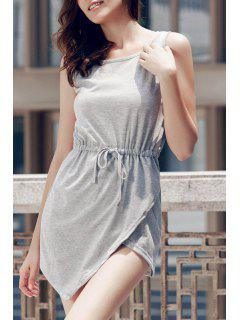 Gris Col Rond Manches Bodycon Sundress - Gris Xl