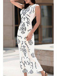 Impresión Digital Del Vestido Blanco Largo - Blanco Xl