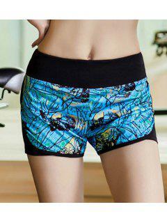 Faux Layered Workout Shorts - Blue M