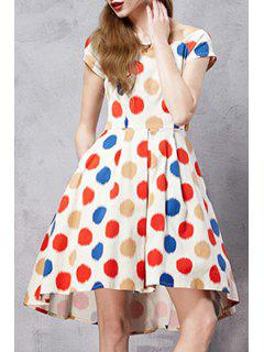 Polka Dot Scoop Neck Short Sleeve A Line Dress - M