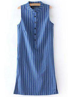 Striped Stand Neck Sleeveless Denim Dress - Ice Blue L