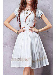 Embroidery Short Sleeve White A Line Dress - White M