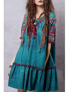 Ethnic Print Ruffles V Neck Half Sleeve Dress - M