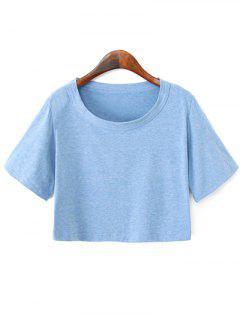 Solide Couleur Manches Courtes Crop Top - Bleu Léger